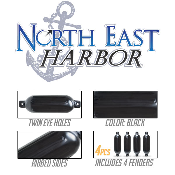 """4pcs Ribbed Boat Fender 6.5/""""x23/"""" Inflatable Bumper Dock Shield Protection Black"""