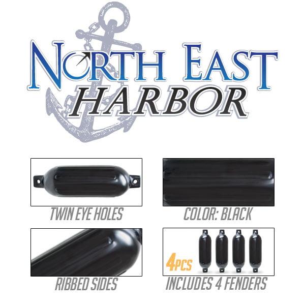 Black Twin Eye Ribbed Boat Pontoon Fender 8.5 x 27 4pcs Inflatable Vinyl Mooring Bumpers Guard Dock Docking