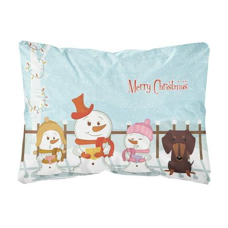 Merry Christmas Carolers Dachshund Chocolate Canvas Fabric Decorative Pillow ()