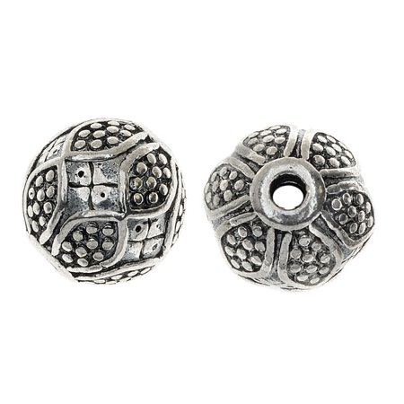 Lead-Free Pewter Beads, Round With Bumpy Floral Pattern 11.5mm, 6 Pieces, Antiqued Silver - Floral Beads