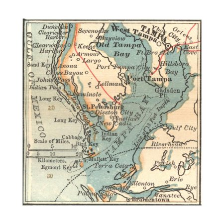 Plate 81. Inset Map of Tampa Print Wall Art By Encyclopaedia - Plate Wall Art