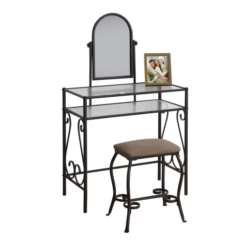 Monarch Vanity Set 2Pcs Set / Brown Metal With Tempered Glass