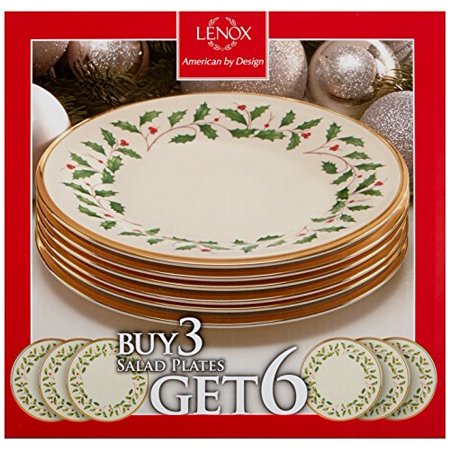 Lenox Holiday Set of 6 Salad Plates - Ivory - 835218 ()