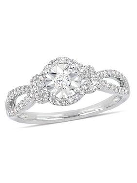 1/3 Carat T.W. Diamond Sterling Silver Split Shank Halo Engagement Ring