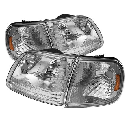 Td Crystal Headlights Corner Lights Set Chrome 98 02 Ford Expedition