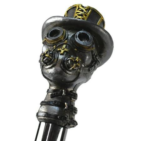 Steampunk Skull Wearing Gas Mask Leather Collar Walking Stick Metal Shaft Punk - Steampunk Sword Cane
