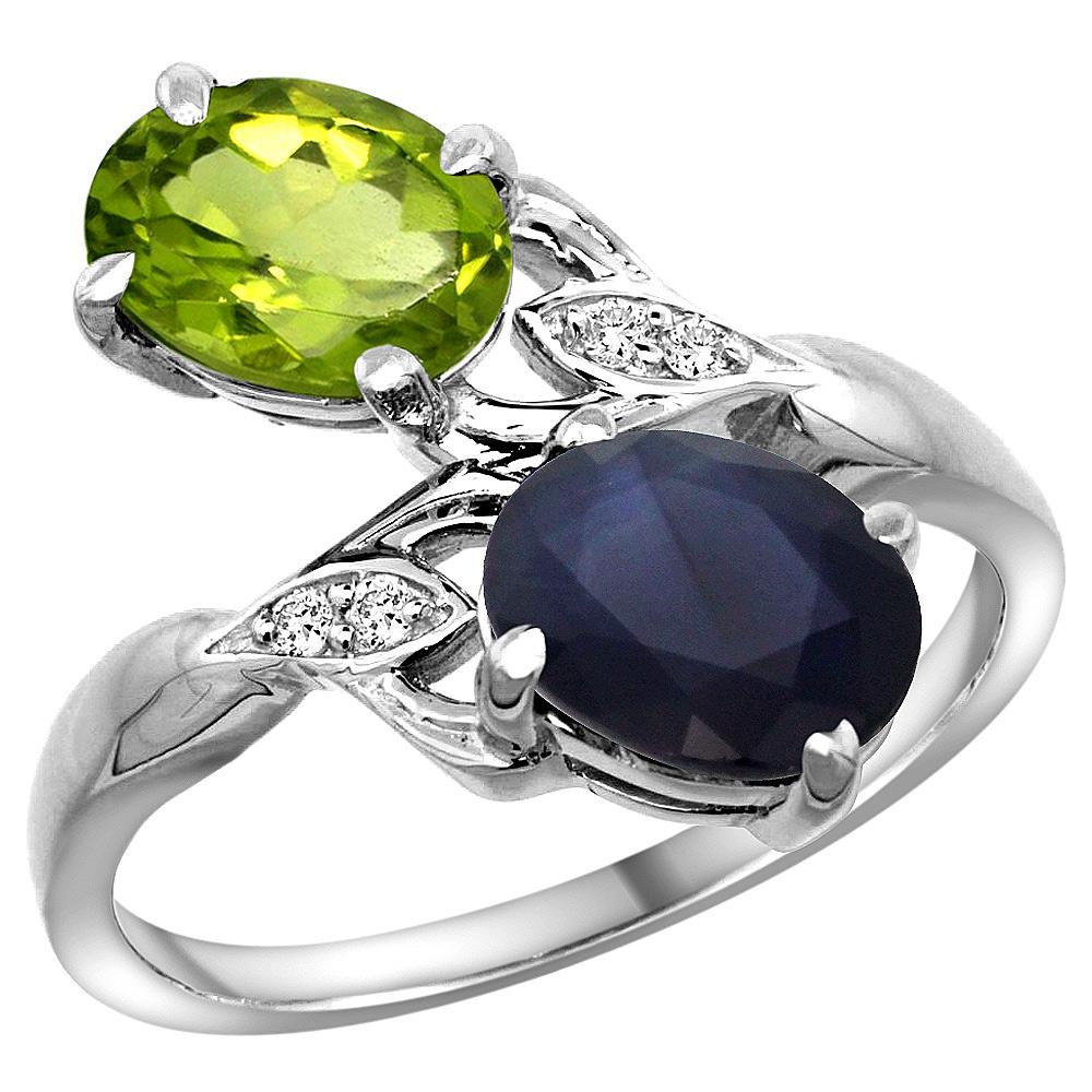 14k White Gold Diamond Natural Peridot & HQ Blue Sapphire 2-stone Ring Oval 8x6mm, sizes 5 - 10