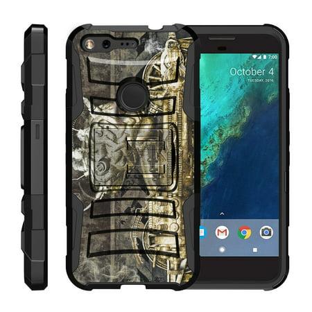 TurtleArmor ® | For Google Pixel [Hyper Shock] Hybrid Dual Layer Armor Holster Belt Clip Case Kickstand - Steampunk (Steampunk Google)