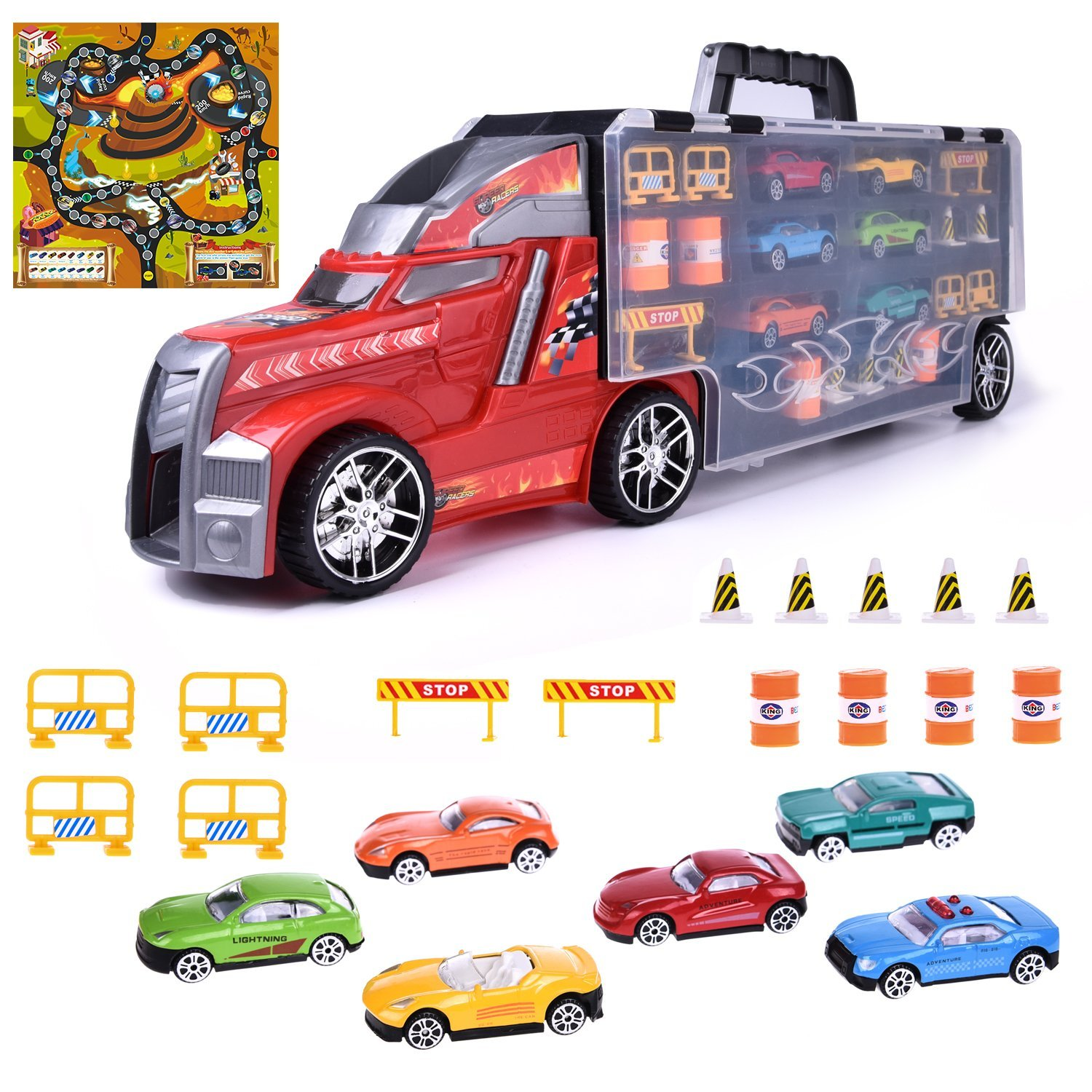 Hot Tow Truck Wheels Cars Collections Boys Toys for Kids Birthday Parties, Goodie Bag with Mega Hauler Shape Container 22 PCs F-18