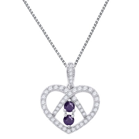 Womens Heart Design Pendant 2 Solitaire Purple Stone Charm Forever Us Free Necklace