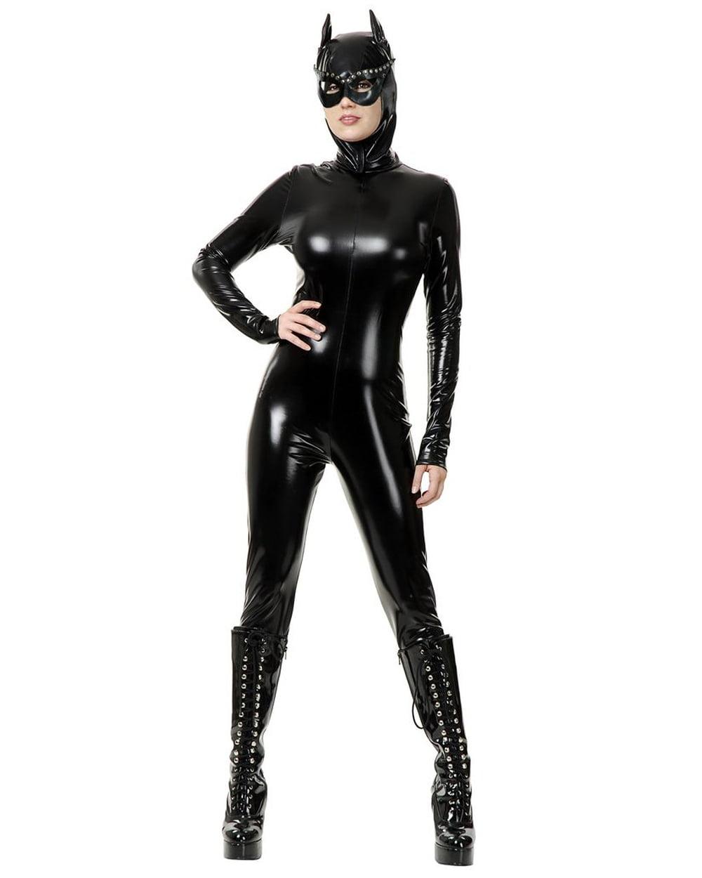 Womens Wet Look PVC Black Cat Suit Vinyl Dominatrix Costume ...