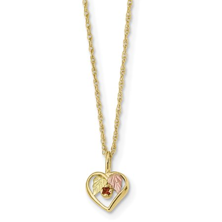 10k Tri Color Black Hills Gold Heart Red Garnet Chain Necklace Pendant Charm S/love Gold Heart Charm Necklace