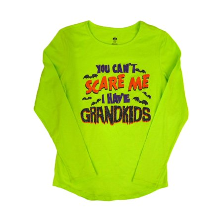 Simple Halloween Scares (Happy Halloween Womens Green You Cant Scare Me I Have Grandkids T-Shirt)
