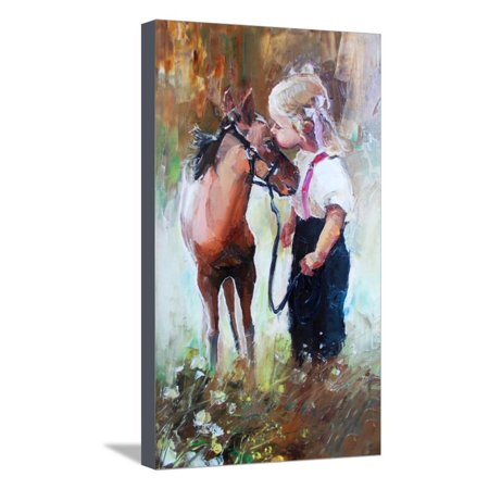 Oil Painting of Little Girl Petting Her Best Friend Pony at Countryside Outdoors Stretched Canvas Print Wall Art By Maria