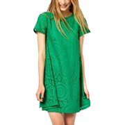 Women's Short Sleeves Semi Sheer Detail Pullover Lace Tunic Shirts Blue (Size M / 8)