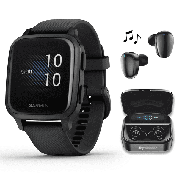 Garmin Venu Sq Music GPS Best Multisport Fitness Smartwatch Black/Slate with Wearable4U Black EarBuds with Charging Power Bank Case Bundle