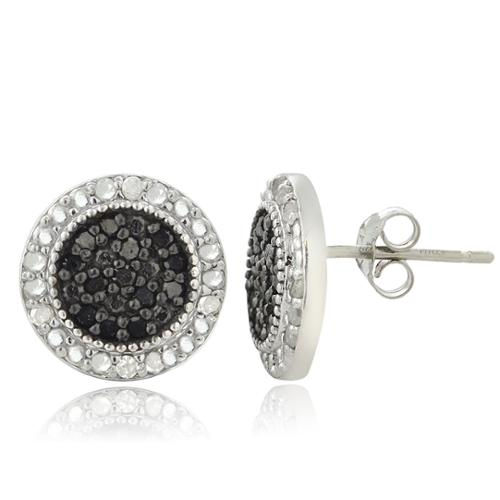 DB Designs Sterling Silver 1/2ct TDW Black and White Diamond Stud Earrings (I-J, I2-I3)