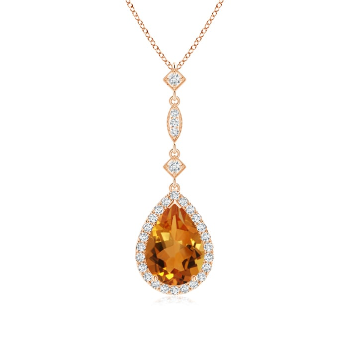 Angara Pear Drop Citrine and Diamond Necklace in Rose Gold phxCVpUJcl
