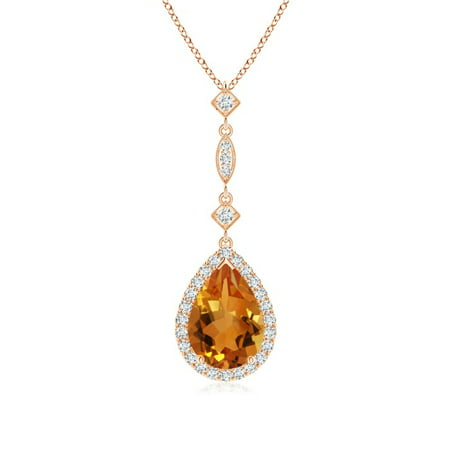 Angara Pear Citrine Teardrop Necklace with Diamond in White Gold