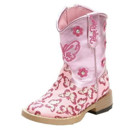 Blazin Roxx Western Boots Girls Pecos Cowboy Glitter Zip Pink - Girl Cowgirl Boots