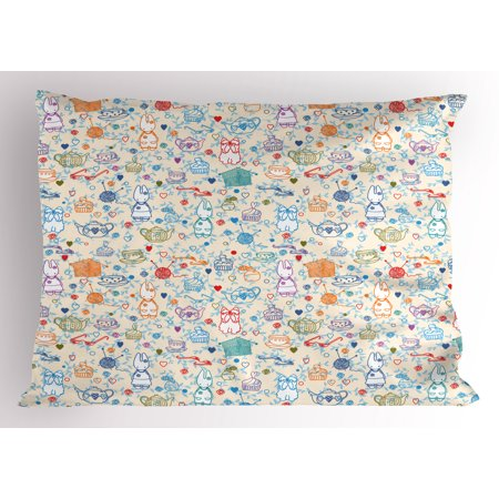 Tea Party Pillow Sham Pattern with Cute Pastime Things Baby Bunny Tea Glasses Balls of Yarn and Needles, Decorative Standard Size Printed Pillowcase, 26 X 20 Inches, Multicolor, by Ambesonne](Baby With Glasses)