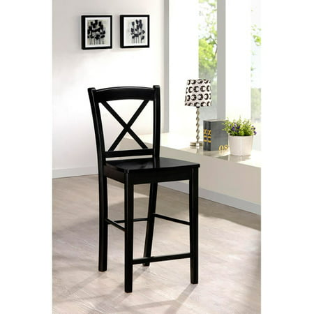 Swell Linon Black X Back Wood Counter Stool 24 Inch Seat Height Pdpeps Interior Chair Design Pdpepsorg