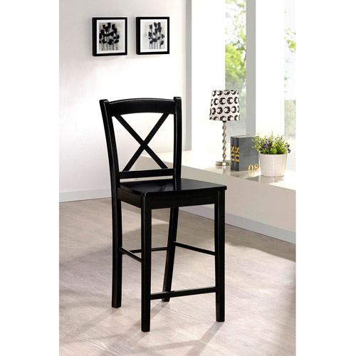 Linon Black X Back Wood Counter Stool, 24 inch seat height