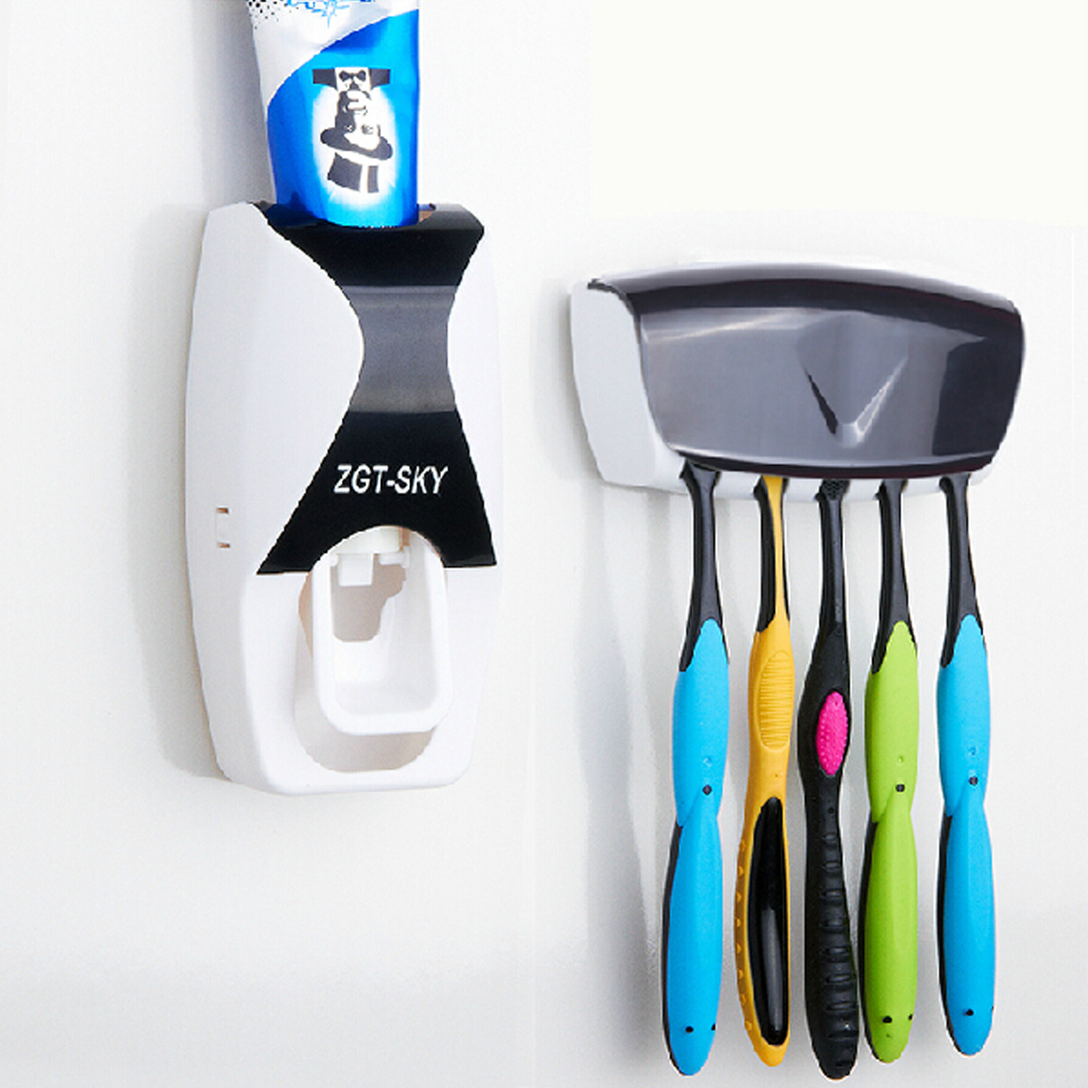 Automatic Lazy Wall Mount Toothpaste  Dispenser + 5 Set Toothbrush Holder Wall Mount Stand