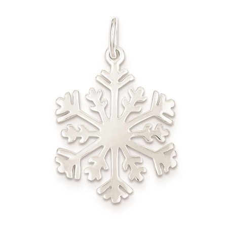 925 Sterling Silver Snowflake Polished Charm Pendant 31mm x - Polished Snowflake Charm