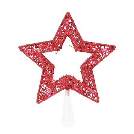 Holiday Time Christmas 9   15 Ul Glittering Thread Red Star Tree Topper With Red Bulbs