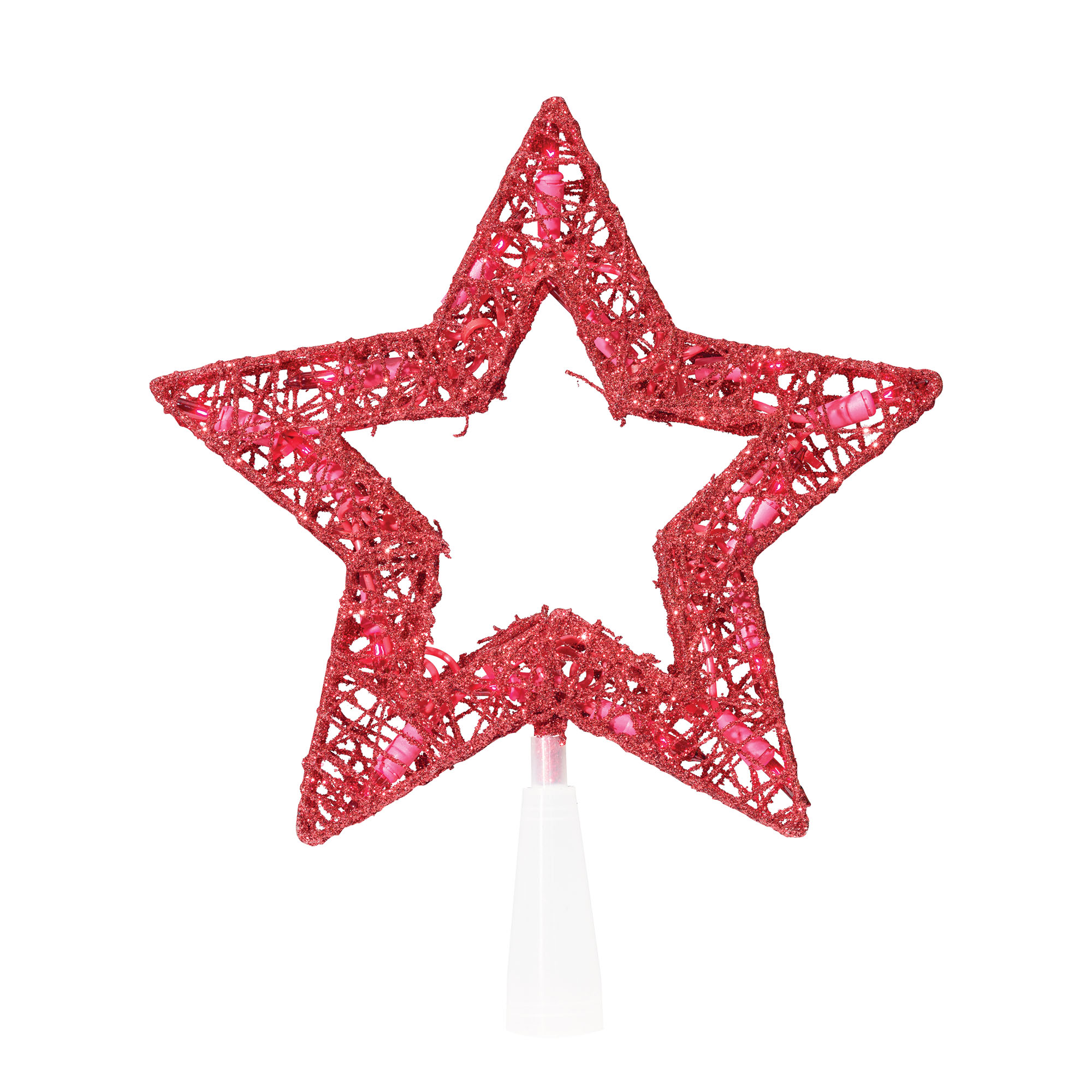 "Holiday Time Christmas 9"" 15 UL Glittering Thread Red Star Tree Topper with Red Bulbs"