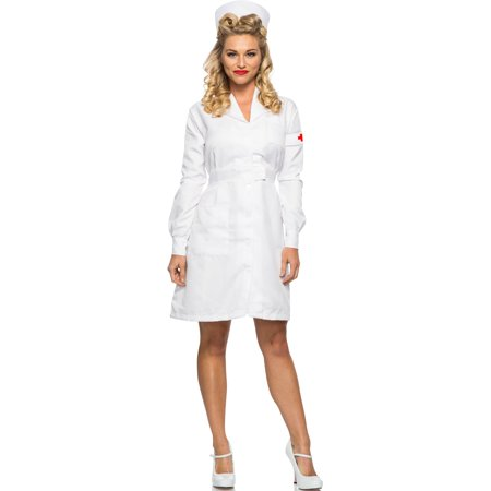 Women's 1940s WWII Vintage War White Nurse Dress Costume Medium 6-8 (White Rabbit Costume Women)