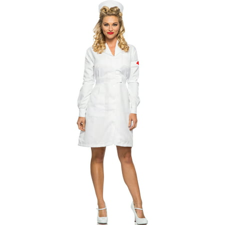 Women's 1940s WWII Vintage War White Nurse Dress Costume Medium 6-8](Snow White Fancy Dress Costume)