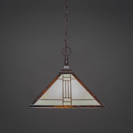Square Dark Granite One-Light Chain Hung Pendant with Santa Fe Tiffany Glass (Hung Ceiling Lamps)