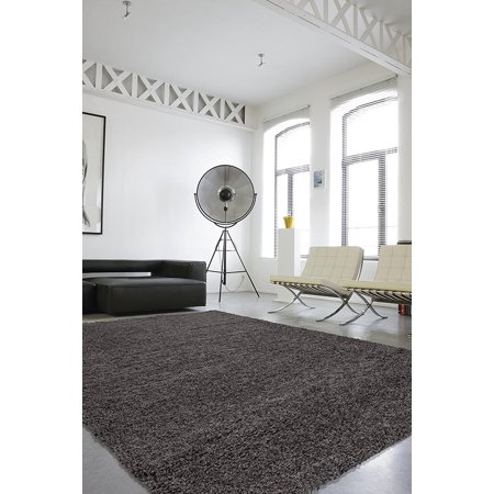 Grey Circles Swag (Sweet Home Stores Cozy Shag Collection Solid Soft Shaggy Indoor Area or Runner)