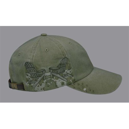 Logo Print Khaki (LPAC1 Resort Cap 6 Panel Emb With Adirondack Chairs Logo, Khaki)