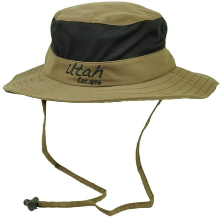 Utah State Brown Booney Sun bucket Hat Chin Strap Mesh Band Outdoors USA Crusher