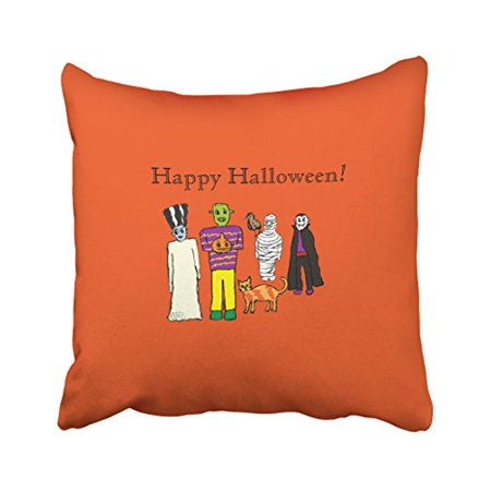 WinHome Modern Funny Halloween Monsters Party Artistic Polyester 18 x 18 Inch Square Throw Pillow Covers With Hidden Zipper Home Sofa Cushion Decorative Pillowcases