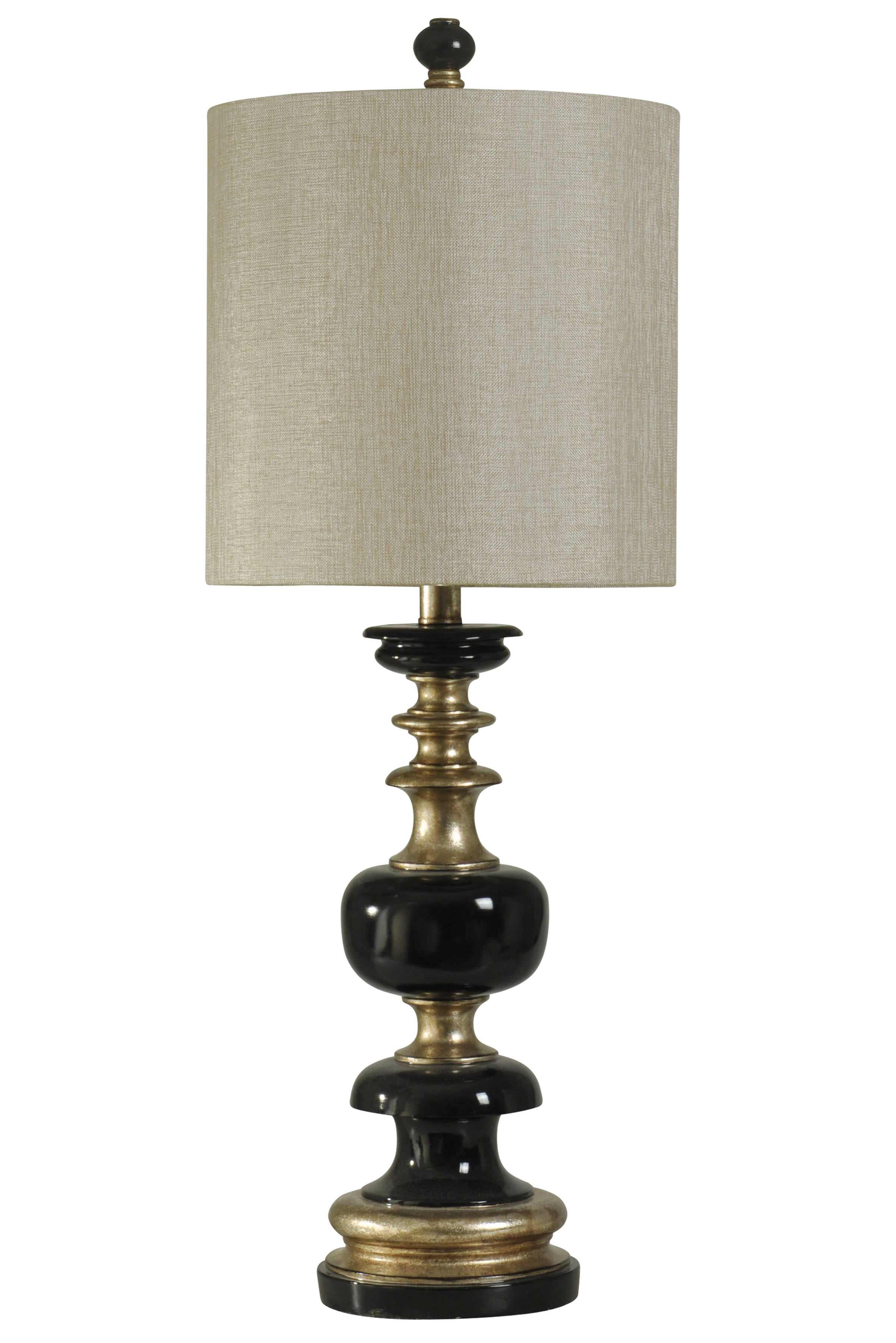 kingston table lamp black and gold finish white hardback fabric shade. Black Bedroom Furniture Sets. Home Design Ideas