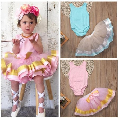 4621a1604e Emmababy - Toddler Baby Kid Girls Tops Romper+Tutu Dress Pettiskirt Clothes  Outfits 0-3T - Walmart.com
