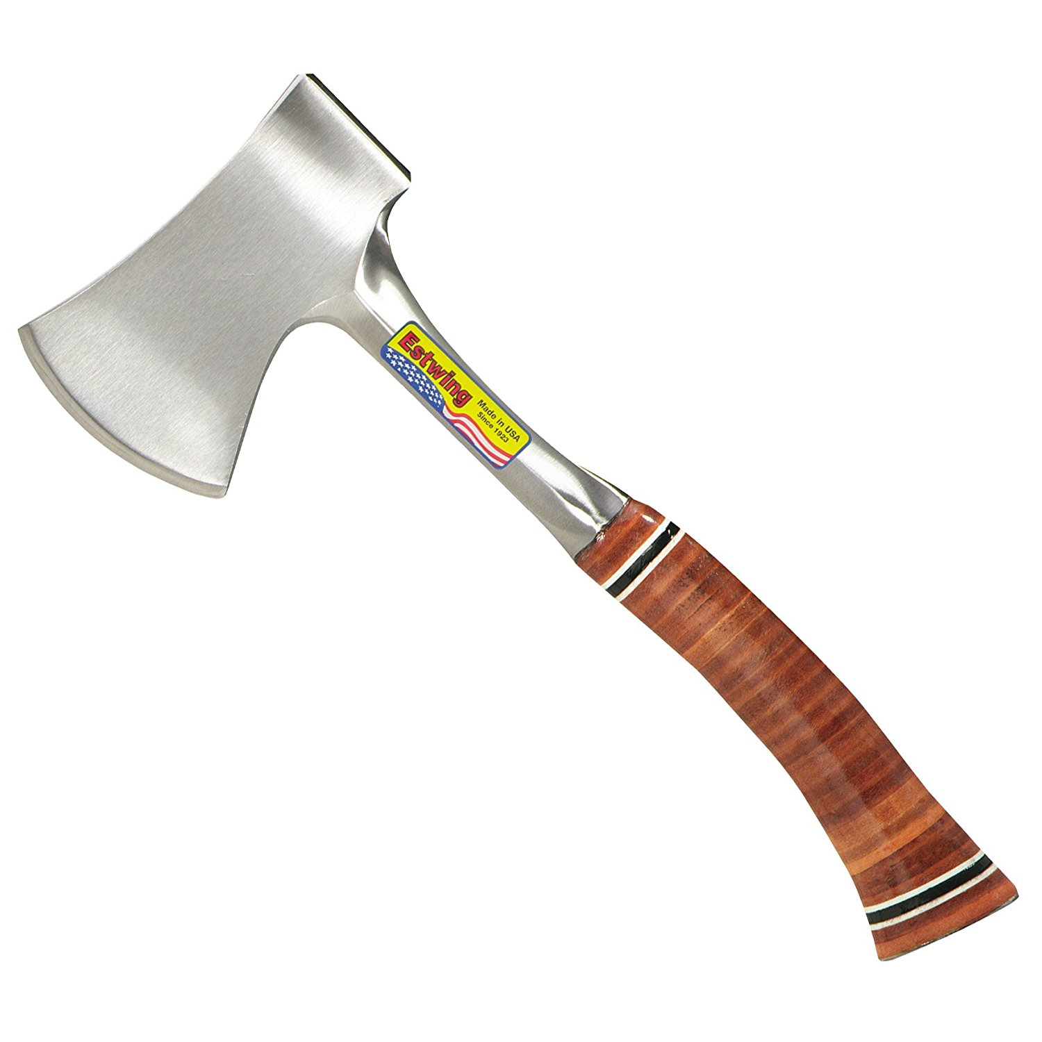 """Estwing Sportsman's Axe 14"""" Camping Hatchet with Forged Steel Construction & Genuine Leather Grip E24A by"""