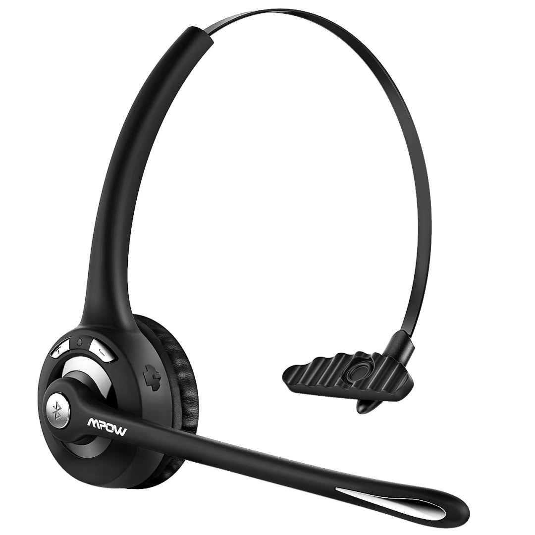 Mpow Pro Truck Driver bluet ooth Headset, Over Ear Wireless bluet ooth Earpiece with Mic, Over the Head Headset for Cell Phone, Call Center, VoIP, Skype (Black)