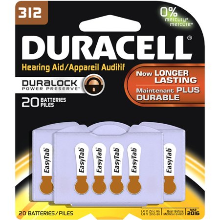 Duracell Easy tab Hearing Aid Size 312 Batteries, 20 Count