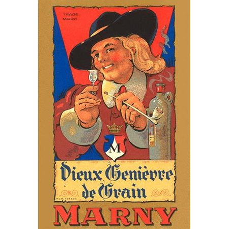 An early Dutch liquor label featuring a Dutchman looking closely at a glass of liquor and smoking a long clay pipe  This type of liquor is called Jenever a juniper-flavored and strongly alcoholic