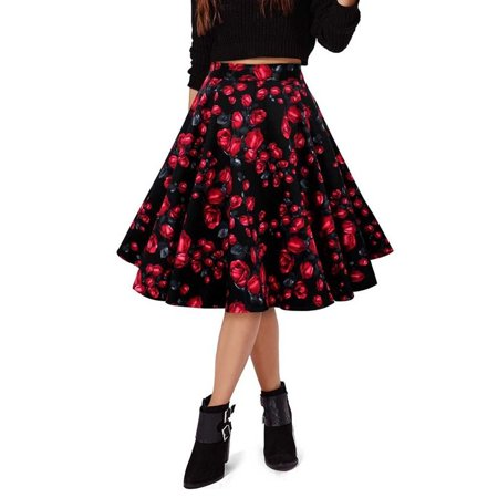 Vintage Women Casual Party Pleated Skirt Floral Print Solid Retro Skater Flared Swing A-Line Long Midi Mini Skirt Dress
