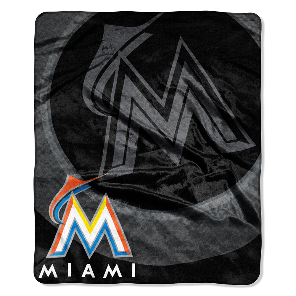 "Miami Marlins MLB Royal Plush Raschel Blanket (Retro Series) (50""x60"")"