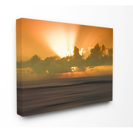 The Stupell Home Decor Collection Hawaii Kauai Bright Orange Sunset Radiance Ocean Photography Stretched Canvas Wall Art, 16 x 1.5 x