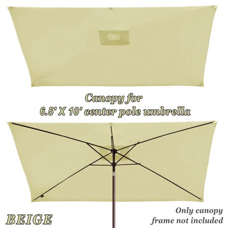 Strong Camel Replacement Umbrella Canopy for 10ft x 6.5 ft 6 ribs (Canopy Only) (Beige)
