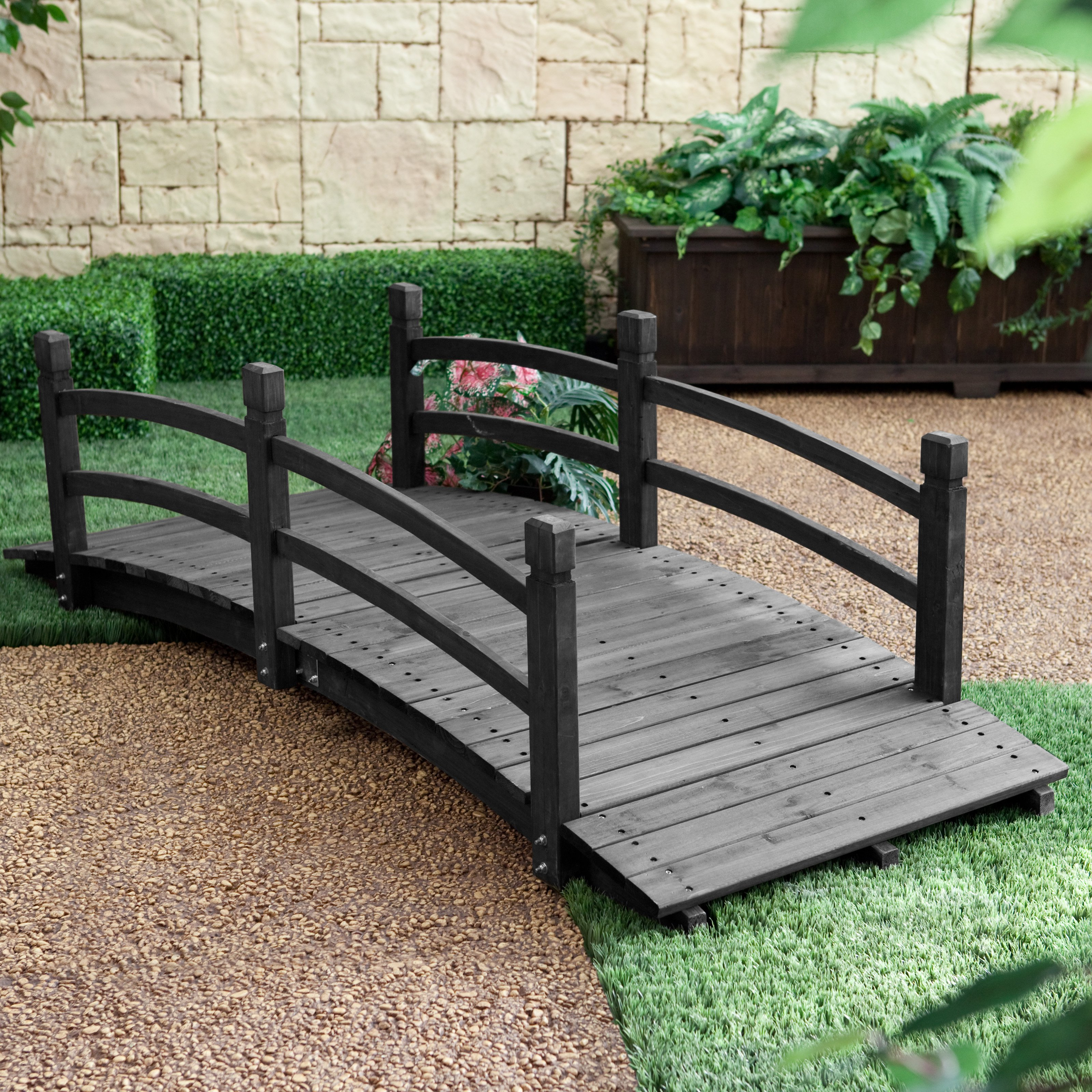 Backyard Bridges coral coast harrison 6-ft. wood garden bridge - dark stain - walmart