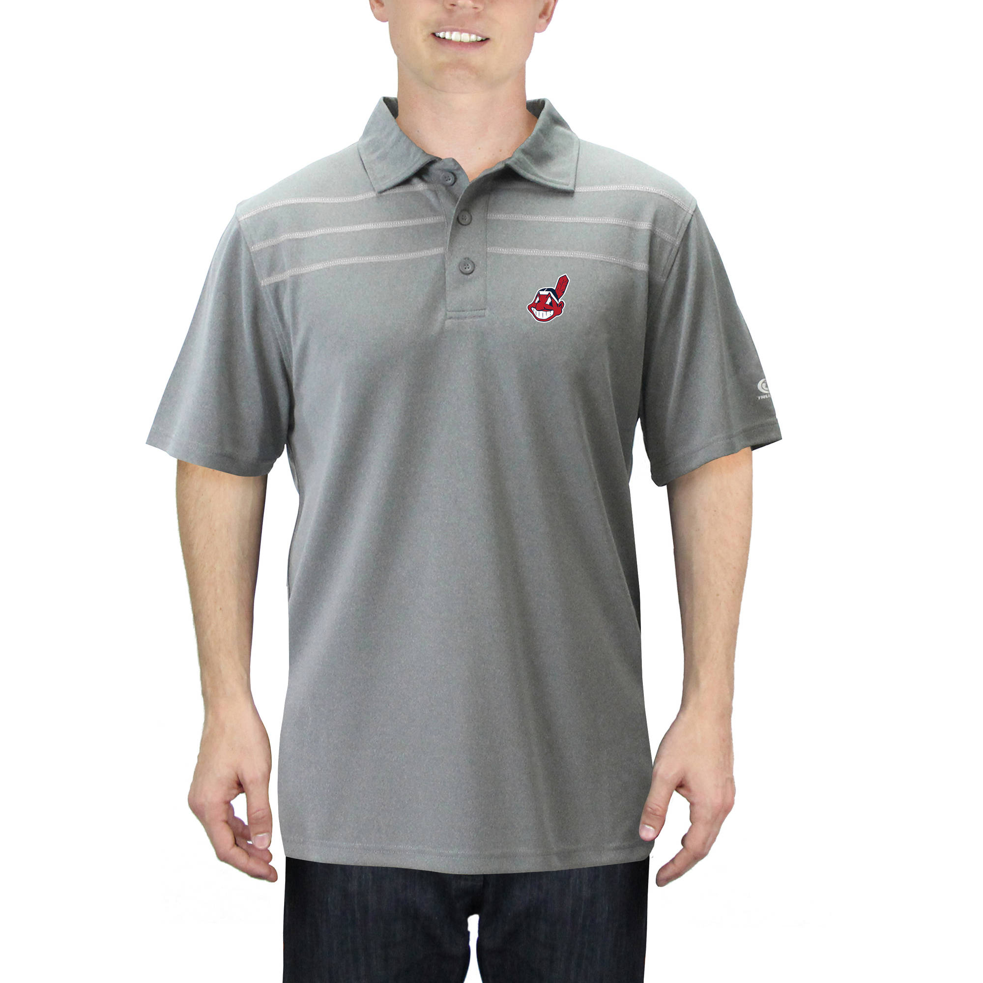 MLB Cleveland Indians Men's Mini Pique Short Sleeve Polo